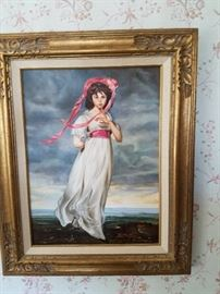 VINTAGE PINKIE OIL PAINTING GREAT COND