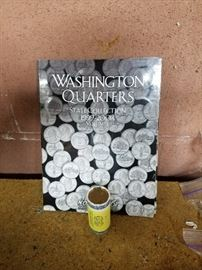 roll of gold us dollars and book of Washington quaters