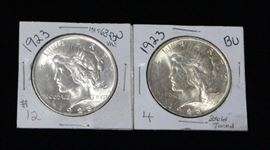 1923 Liberty Silver Dollars Qty 2, One Gold Toned, Both Brilliant Uncirculated