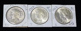 1923 Liberty Silver Dollars Qty 3, One Toned, One D Mint, Two Brilliant Uncirculated