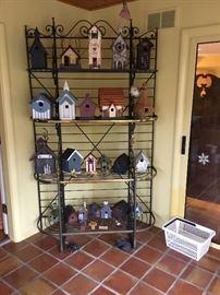 Beautiful Baker's Rack and bird houses