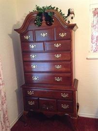 Handsome high boy dresser with plenty of storage