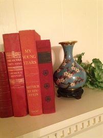 Books and vintage vase