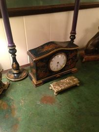Desk clock and candle stick set
