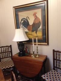 Antique drop leaf table; stunning rooster art; brass candle holders