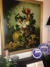 Striking framed art - fruit and flowers; blue & white selections