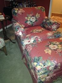 Floral club chair and ottoman