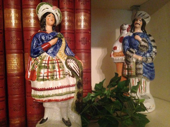 More Staffordshire figures; impressive leather bound books