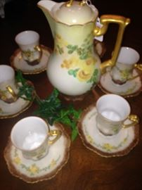 Antique hand painted chocolate set