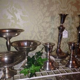 Sterling and silver plate compotes and candle holders