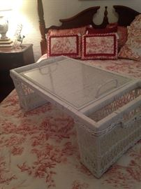 White wicker bed tray