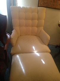 Tufted chair and ottoman