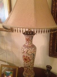 This fine lamp has a lovely beaded shade.