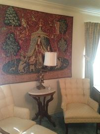Lovely tapestry; matching tufted chairs (one ottoman); marble top