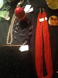 Miscellaneous necklaces; evening bag