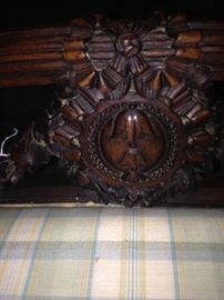 Intricately carved antique vanity bench