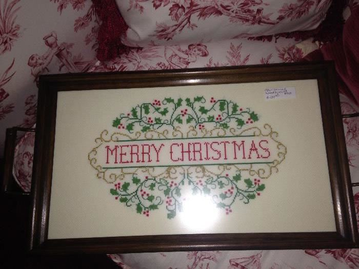 """Hand stitched """"Merry Christmas"""" tray"""