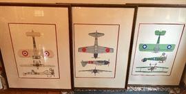 Large Vintage framed airplanes