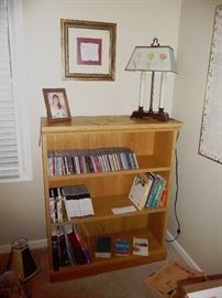 bookcase and BOOKS/DVD's