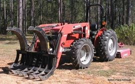 Massey Ferguson 2615 4 Wheel drive ,with 304 hours. Loader is a Bushhog model 3545 front end loader.   Grapple forks is made by Rake Master.