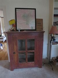 Great Country Pie Safe, Full Old Marshall Map Framed