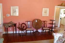 chairs are finely made-30-40 years old, spinning wheel is signed and dated 1854