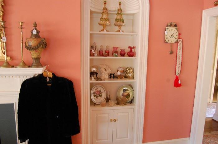 Beaver Skin coat, vintage cranberry glass