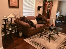 Gorgeous Home Furnishings! Nice Sofa, Rug, Iron and Glass Coffee Table, End Table and Foyer Table