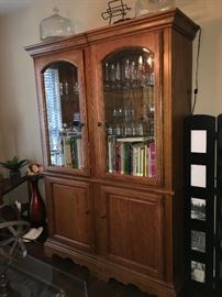 Lovely Duo Display Cabinet with Glass Doors and Lower Storage