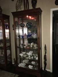 Two Gorgeous Curio Cabinets with Sliding Doors, Touch Lighting!