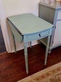 Blue Drop Leaf End Table