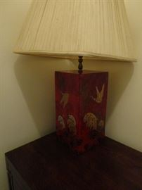ORIENTAL RED AND BRASS DUCK LAMP