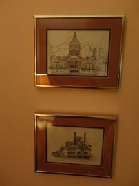 FRAMED ART CAPITAL AND RIVER BOAT