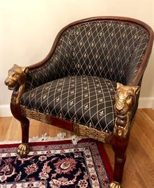 Baker Furniture- Stately Homes Collection, Regency gold gilt accented paw feet and lion head hand rest, Tub Chairs feat. fleur de lis upholstery. Pair.