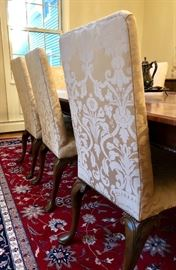 Queen Anne upholstered dining chairs