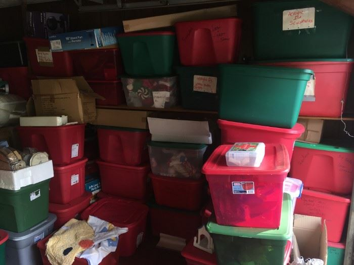 DOZENS OF TOTES OF CHRISTMAS DECORATIONS