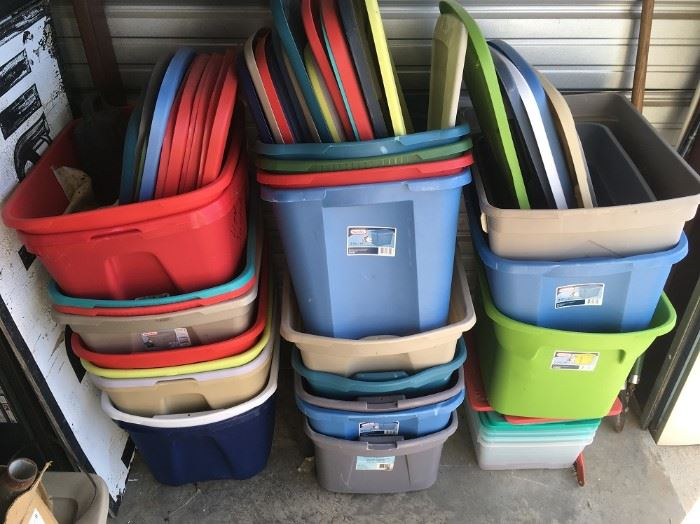 DOZENS OF EMPTY STORAGE TOTES - MORE NOT SHOWN