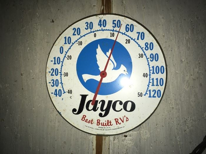 VINTAGE JAYCO RV ADVERTISING THERMOMETER, missing glass