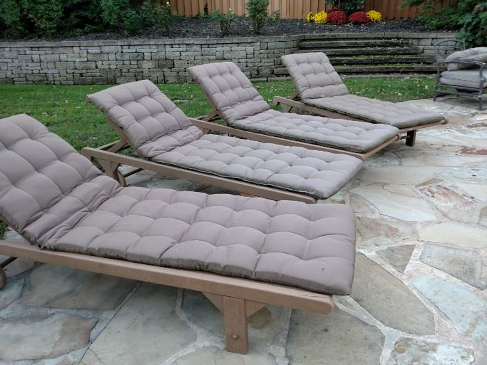 Teakwood outdoor chaise lounges