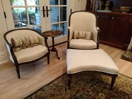 Antique French armchairs and ottoman