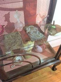 Vintage purses, perfume bottles, porcelain items