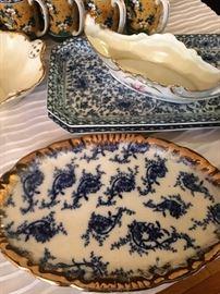 Flow blue oval platters