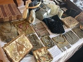 Vintage beaded purses, lucite, and fine tapestry