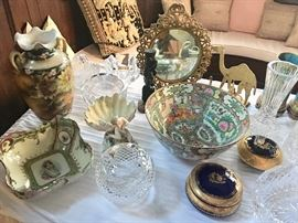 Fine painted porcelain, Waterford, Orrefors, and Limoges