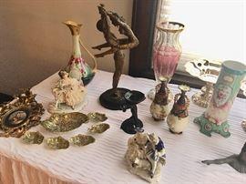 Fabulous Erte sculpture surrounded by a fine assortment of antique porcelain