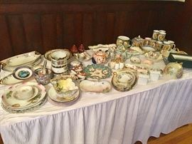 A collection of hand painted porcelain
