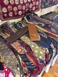 Hundreds of men's ties -- all designer