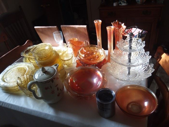 Lots of Glassware...Federal, carnival glass and more.