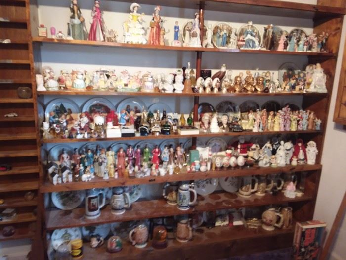 Hundreds and hundreds of collectible figurines from a span of 50 years.  Cars, Avon, steins and much more.