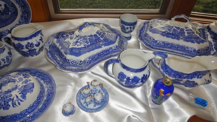 Blue Willow China, serving pieces and various plates